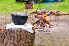 Picnic with fire. Royalty Free Stock Photos