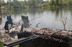 Picnic on a fishing trip. Picnic on a fishing trip Kiev royalty free stock photography