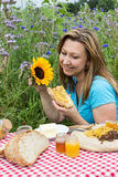 Picnic on a flower meadow Royalty Free Stock Photography