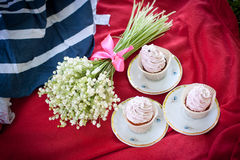 Picnic and flowers and cupcakes Royalty Free Stock Photo