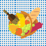 Picnic food barbecue basket on a blue seamless Stock Images