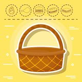 Picnic food design. Basket and picnic food related icons over yellow background, colorful design. vector illustration Royalty Free Stock Photos