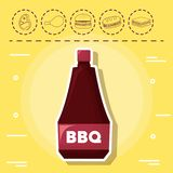 Picnic food design. Bbq sauce and picnic food related icons over yellow background, colorful design. vector illustration Royalty Free Stock Photography