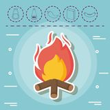 Picnic food design. Bonfire and picnic food related icons over blue background, colorful design. vector illustration Royalty Free Stock Images