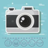 Picnic food design. Camera and picnic food related icons over blue background, colorful design. vector illustration Stock Images