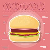 Picnic food design. Hamburger and picnic food related icons over pink background, colorful design. vector illustration Royalty Free Stock Photography