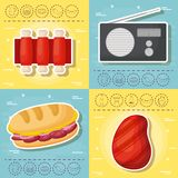 Picnic food design. Icon set of picnic food concept over colorful squares, vector illustration Royalty Free Stock Images