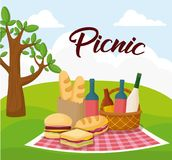 Picnic food design. Landscape with picnic blanket with food, colorful design. vector illustration Stock Photography