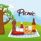 Picnic food design. Landscape with picnic blanket with food, colorful design. vector illustration Stock Photo