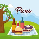 Picnic food design. Landscape with picnic blanket with food, colorful design. vector illustration Royalty Free Stock Images