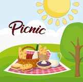 Picnic food design. Landscape with picnic blanket with food, colorful design. vector illustration Stock Images