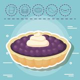 Picnic food design. Pie and picnic food related icons over blue background, colorful design. vector illustration Stock Photography