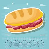 Picnic food design. Sandwich and picnic food related icons over blue background, colorful design. vector illustration Stock Photo