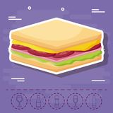 Picnic food design. Sandwich and picnic food related icons over purple background, colorful design. vector illustration Stock Photos