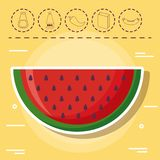 Picnic food design. Watermelon and picnic food related icons over yellow background, colorful design. vector illustration Stock Photography