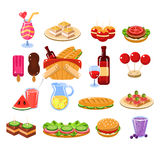 Picnic Food And Drink Set Stock Images