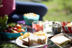 Picnic Food Laid Out On Blanket Stock Photo