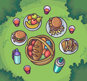 Picnic food in the meadow. Flat cartoon outdoor meal set. Royalty Free Stock Images