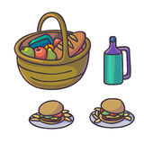 Picnic food set. Flat cartoon outdoor meal. Stock Image