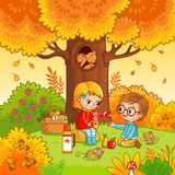 Picnic in the forest with children. Vector illustration with boy and girl who drink tea in cartoon style royalty free illustration