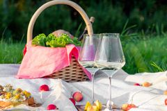 Picnic in forest on sunny meadow, blanket, wicker basket, wine glasses, bruschetta with cheese and pear, snacks, fruit, apples,. Picnic in the forest on sunny royalty free stock photo