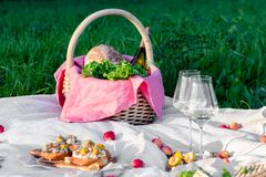 Picnic in forest on sunny meadow, blanket, wicker basket, wine glasses, bruschetta with cheese and pear, snacks, fruit, apples, stock photography