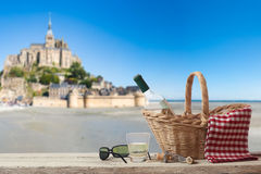 Picnic in France with Le Mont Saint Michel in the Background Royalty Free Stock Photography