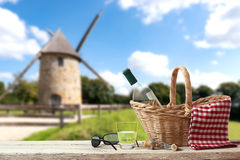 Picnic in France with a old Mill in the Background Stock Image