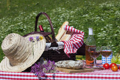 Picnic in french alpine mountains Royalty Free Stock Photos
