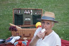 Also meringue is part of the picnic for this pretty woman royalty free stock image