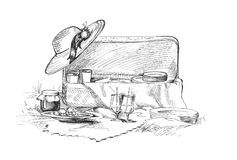 Picnic for friends. Food backet pen illustration  with a cap Stock Photography