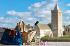 Picnic in Front of Church in the Normandy Royalty Free Stock Photos
