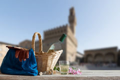 Picnic in Front of the Palazzo Vecchio in Florence Royalty Free Stock Images