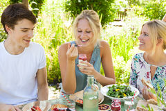 Picnic fun. Group of three friends having an outdoors picnic in the summer garden Royalty Free Stock Photos