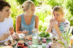Picnic fun. Group of three friends having an outdoors picnic in the summer garden Stock Image