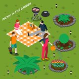 Picnic In Garden Isometric Design Concept Royalty Free Stock Images
