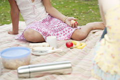 Picnic Girls Sitting on Blanket Stock Photo