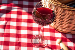 Picnic. Glass of wine and picnic basket on red checkered table cloth Royalty Free Stock Images