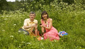 Picnic on grass Royalty Free Stock Images