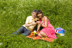 Picnic on grass Stock Photo