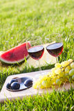 Picnic on the grass. Glasses of red wine with fruits Royalty Free Stock Images