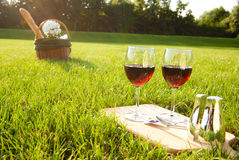 Picnic on the grass. Glasses of red wine and picnic basket Royalty Free Stock Photo