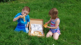 Picnic on the grass. boy and small girl  have a dinner with pizza on the meadow . stock footage