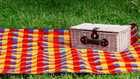 Picnic on the grass. Picnic basket. Royalty Free Stock Image