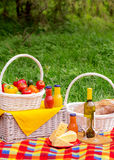 Picnic on the grass. Picnic basket with vegetables and bread. A Royalty Free Stock Images