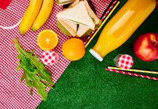 Picnic on the grass. Red checked tablecloth, basket, healthy food sandwich and fruit, orange juice. Top view.  Summer Time Rest. Flat lay Royalty Free Stock Images