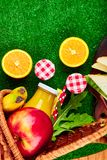 Picnic on the grass. Red checked tablecloth, basket, healthy food sandwich and fruit, orange juice. Top view.  Summer Time Rest. Flat lay Royalty Free Stock Photography