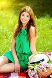 Picnic on a grass Stock Photo