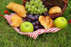 Picnic on green grass with  croissants Stock Photography