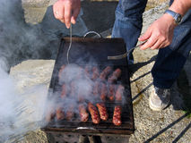 Picnic Grill cinder outdoors meat Lunch Stock Photo